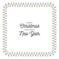 bombillas de navidad dibujadas a mano marco de rectángulo redondeado