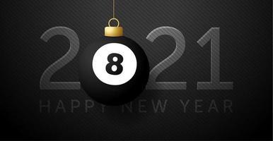 Tarjeta de año nuevo 2021 con adorno de pelota de fútbol o billar.
