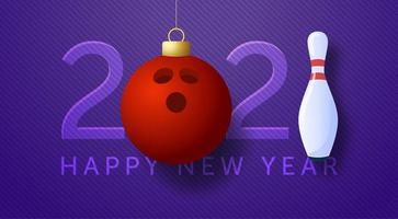 2021 card with bowling ball ornament and pin vector