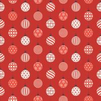 Christmas seamless pattern with red and white balls vector
