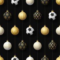 Navidad colgando adornos de balones de fútbol o fútbol de patrones sin fisuras
