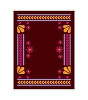 Mexican carpet with a square floral frame vector
