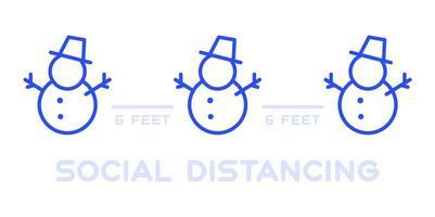 cartel de distanciamiento social en el evento navideño