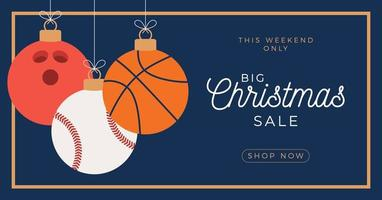 Sport ornament Merry Christmas sale horizontal banner