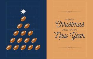 Holiday banner with American football Christmas tree