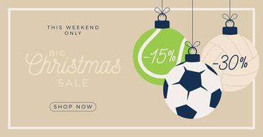 Sport ornament Merry Christmas sale horizontal banner vector