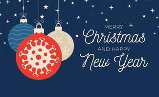 banner de bola de coronavirus de navidad
