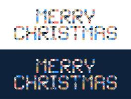 Pixel art merry christmas block typography