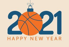 2021 Happy New Year typography with basketball ornament vector