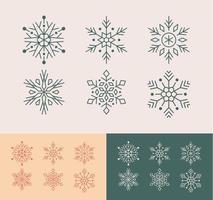 linda colección de copos de nieve de arte lineal