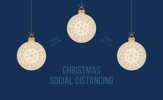 Social distance Christmas banner with ball ornaments