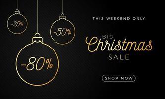 banner horizontal de venta de navidad de lujo