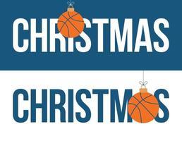 conjunto de banner horizontal de navidad de adorno de baloncesto