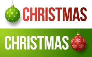 Christmas typography banner set with ball ornaments vector