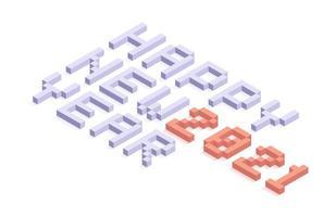 2021 feliz año nuevo tipografía isométrica