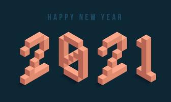 2021 Happy New Year isometric typography vector