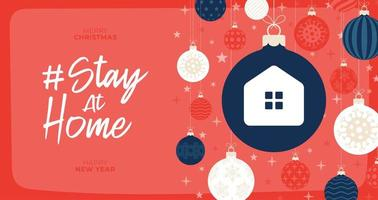 Stay at home christmas coronavirus outbreak concept vector