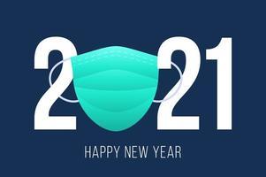 feliz año nuevo 2021 diseño de tipografía de máscara