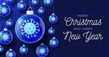 Glass Christmas coronavirus ball banner vector