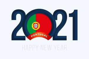New Year 2021 typography with Portugal Flag