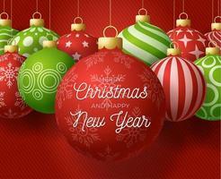 banner cuadrado de adornos de bolas de navidad y año nuevo