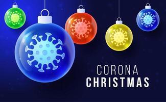 concepto de navidad de coronavirus con adornos de bolas brillantes