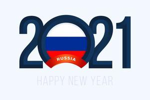 New Year 2021 typography with Russia Flag