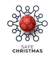 cartel de bola de navidad roja y célula de coronavirus