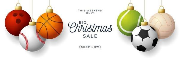 Christmas sale sports ornaments hroizontal banner
