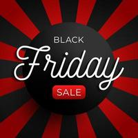Black friday sale circle banner on red and black background