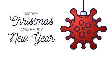 cartel de bola de navidad de coronavirus rojo