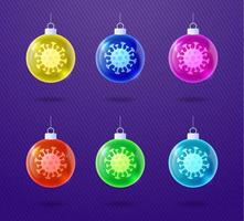 Glass glossy Christmas coronavirus ball ornament set vector