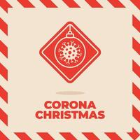 señal de tráfico de coronavirus de navidad