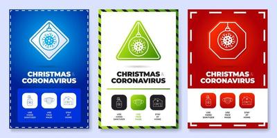 Christmas coronavirus all in one icon poster set vector