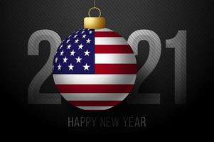 New Year 2021 typography with USA Flag ornament