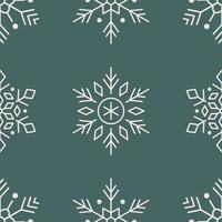 Snowflakes line art seamless pattern on green