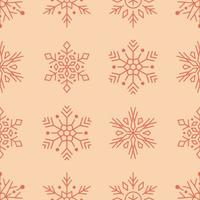 Red snowflakes line art seamless pattern