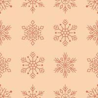 copos de nieve rojos línea arte de patrones sin fisuras vector