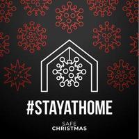quédate en casa cartel de coronavirus navideño seguro