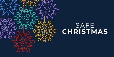 banner de adorno de bola de coronavirus navideño seguro