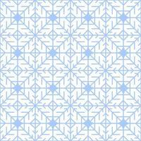 Geometric blue snowflake seamless winter pattern