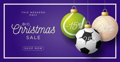 Christmas sale sport ornament horizontal banner vector