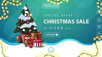Discount banner with garland and wavy line