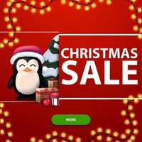 Discount banner with garland and penguin vector