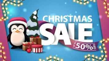 Discount banner with large letters and garland vector