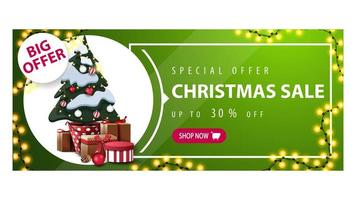 Discount banner with garland, button and Christmas tree