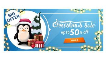 Discount banner with garland, button and penguin