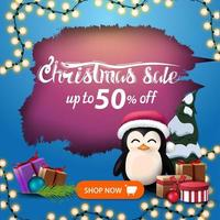 Discount banner with ragged hole and garland vector