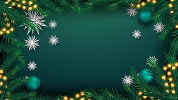 Christmas green background with garland and tree branches