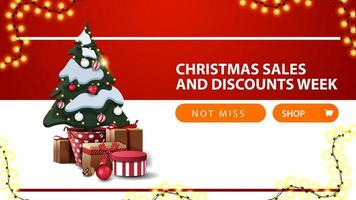 Discount banner with button, garland, and Christmas tree
